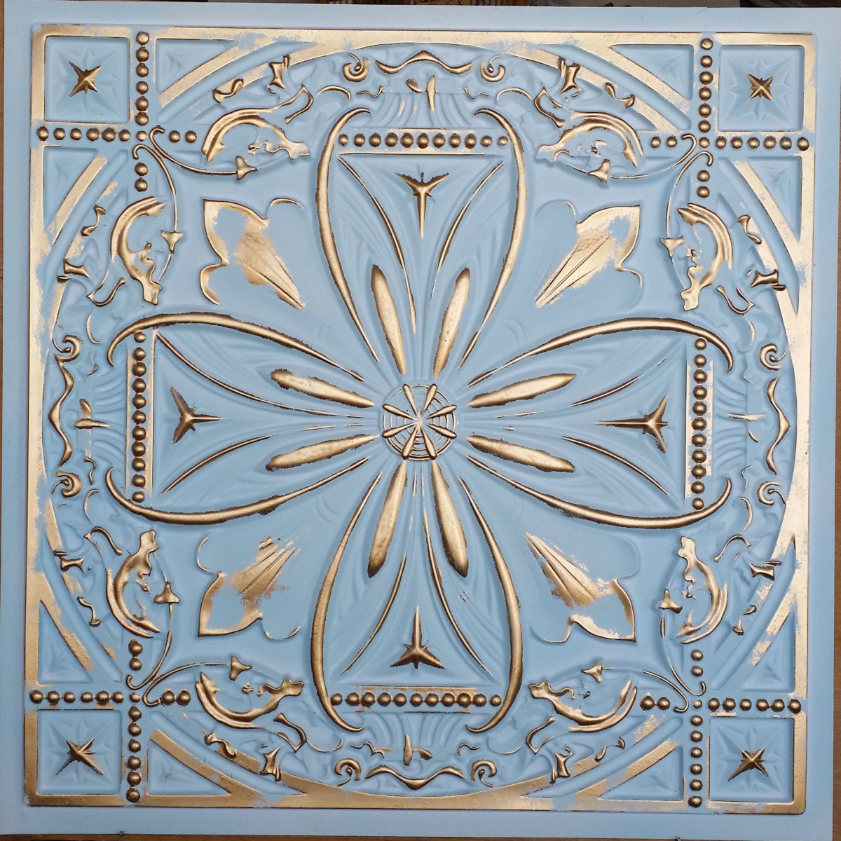 Faux tin ceiling tiles tin ceiling tile 3d relief aged white gold faux finishes pl10 pack of 10pcs dailygadgetfo Choice Image