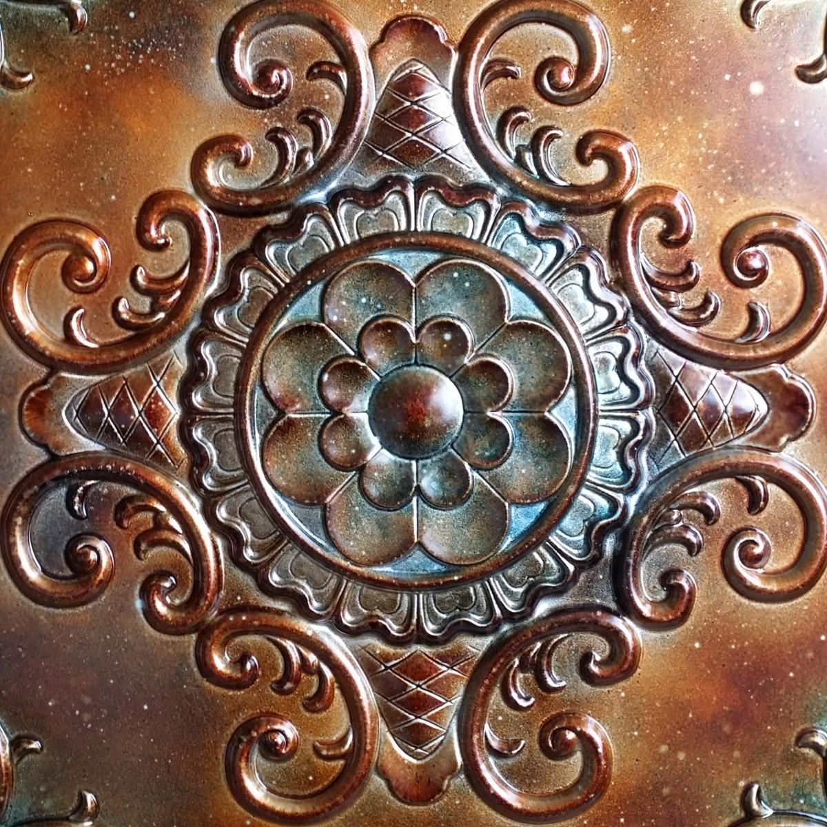 Tin Ceiling Tile 3d Relief Ancient Copper Patina Faux