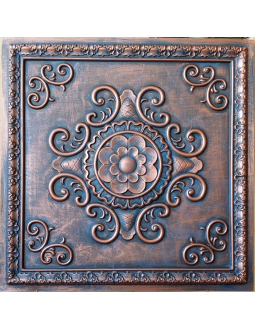 Tin ceiling tile 3D relief Aged red copper faux finishes PL08 pack of 10pcs