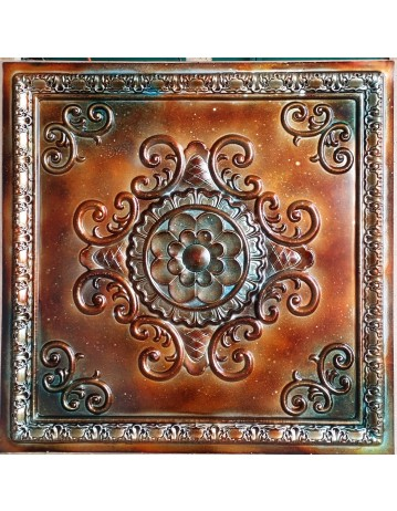 Tin ceiling tile 3D relief ancient copper patina faux finishes PL08 pack of 10pcs