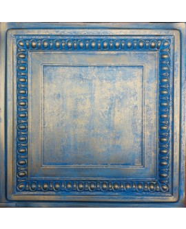 Faux Tin ceiling tiles Aged blue gold color PL06 pack of 10pcs