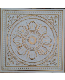 Faux Tin ceiling tiles white gold color PL17 pack of 10pcs