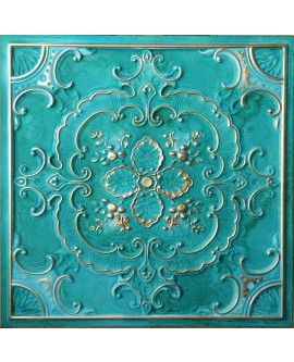Faux Tin ceiling tiles washing cyan gold color PL19 pack of 10pcs