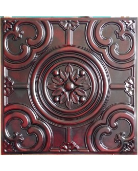 Faux Tin ceiling tiles aged red wood color PL50 pack of 10pcs