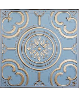 Faux Tin ceiling tiles aged blue gold color PL50 pack of 10pcs
