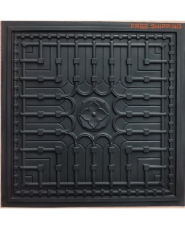 Tin ceiling tile 3D embossed matt black faux finishes PL301 pack of 10pcs