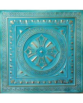 Tin ceiling tiles 3D embossed washed cyan gold PL01 pack of 10pcs