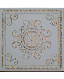 Faux Tin ceiling tiles white gold color PL08 pack of 10pcs