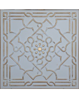 Faux Tin ceiling tiles white gold color PL09 pack of 10pcs