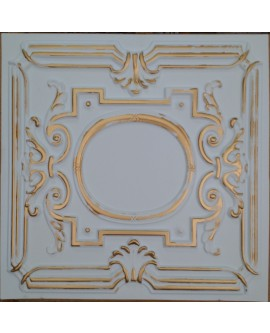Faux Tin ceiling tiles white gold color PL15 pack of 10pcs