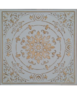 Faux Tin ceiling tiles white gold color PL18 pack of 10pcs