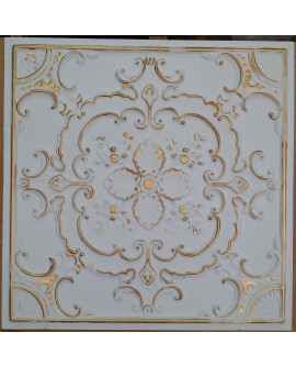 Faux Tin ceiling tiles white gold color PL19 pack of 10pcs