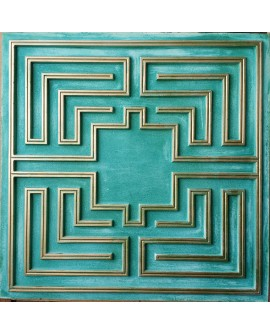 Faux Tin ceiling tiles aged cyan gold color PL25 pack of 10pcs