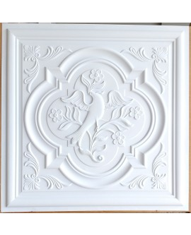 suspended Ceiling tiles Faux Tin white matt color PL39 pack of 10pcs