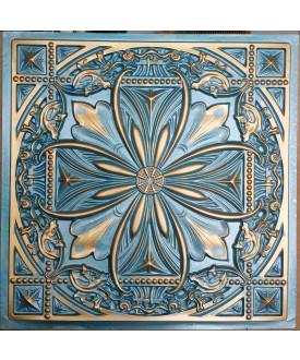 Faux Tin ceiling tiles Cyan gold color PL10 pack of 10pcs
