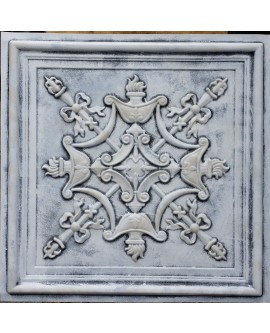 Faux Tin ceiling tile 3D relief weathered black white PL07 pack of 10pcs