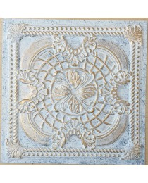 ceiling tiles 2x2 Faux tin paint aged white gold color PL31 pack of 10pcs