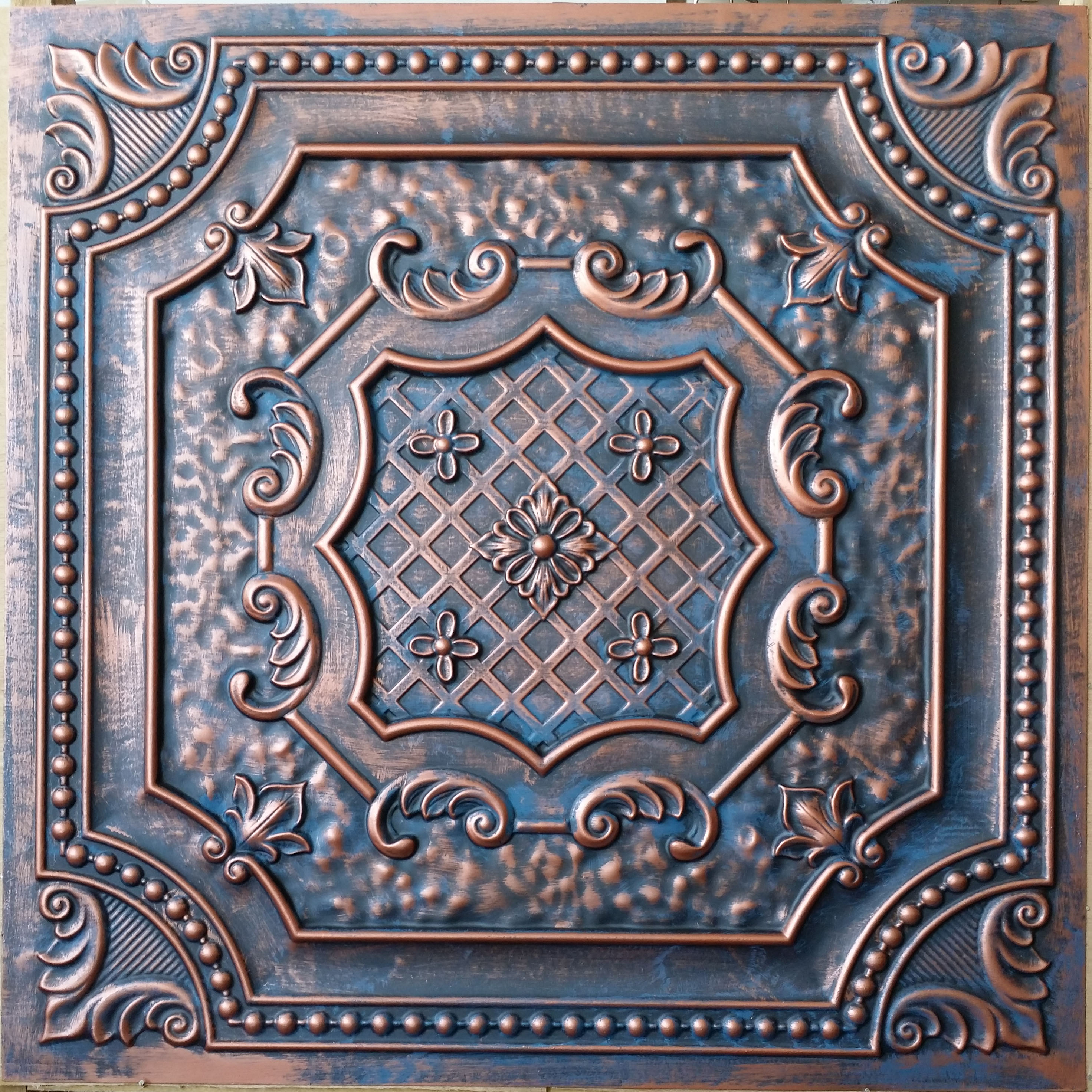 PL04 Ceiling tiles in aged red copper