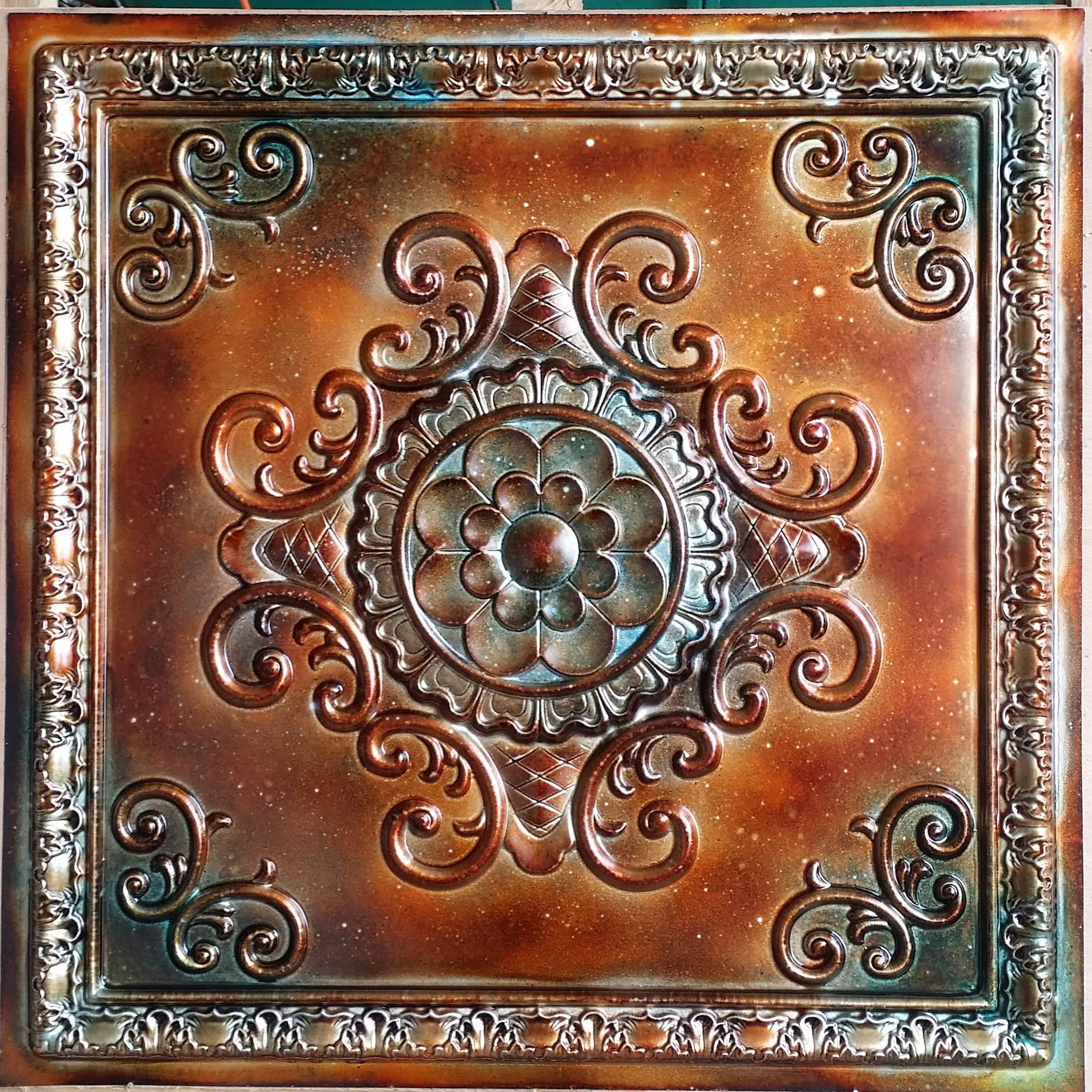 Tin Ceiling Tile 3d Relief Ancient Copper Patina Faux